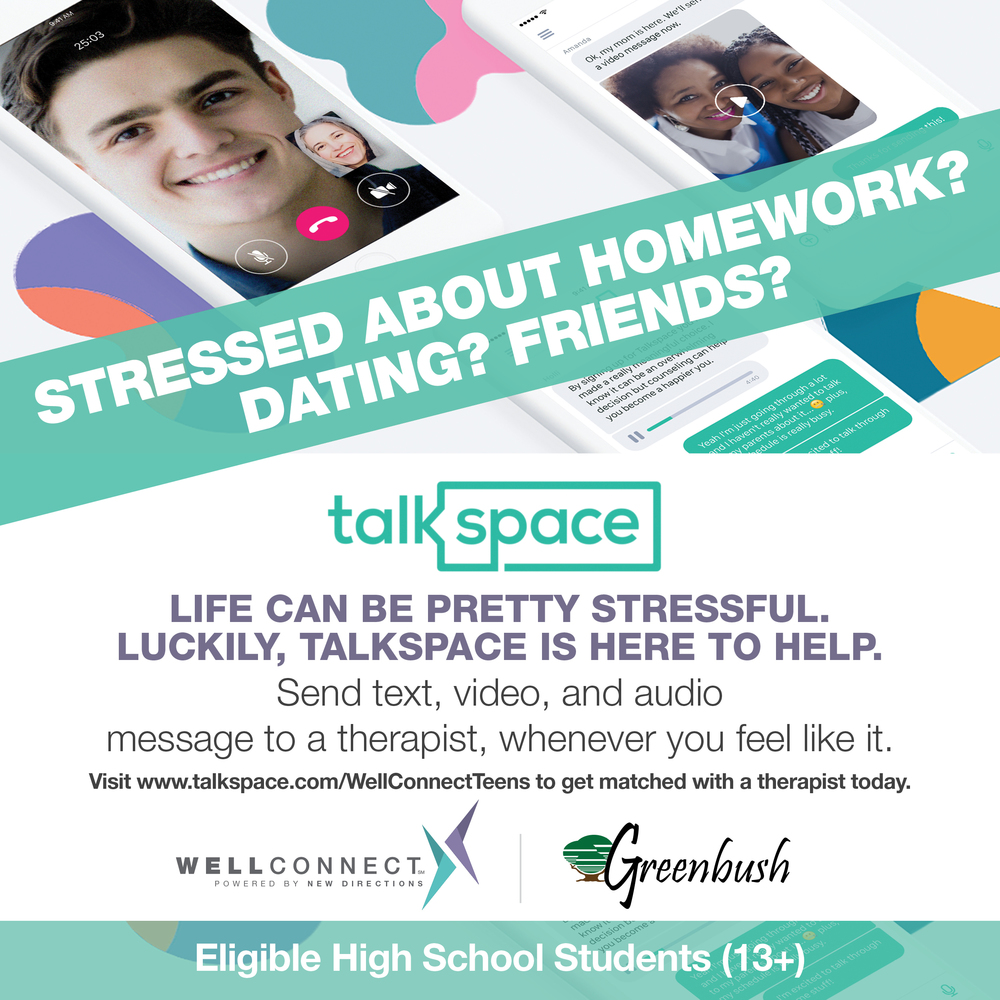 INTRODUCING Talkspace: free online therapy for your teen!