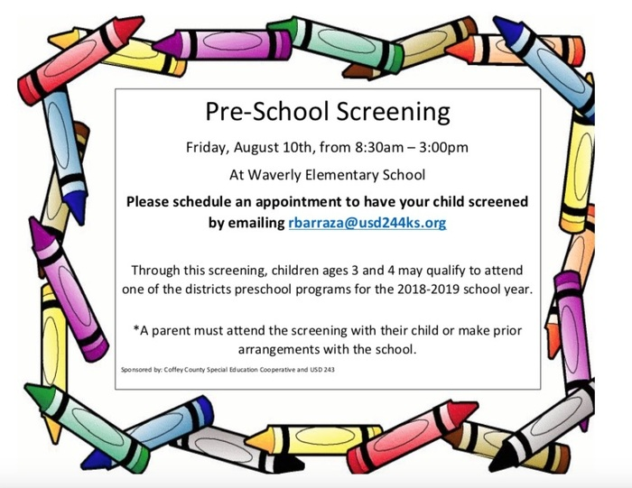 Preschool Screening- Aug. 10, 2018