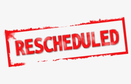 "The word ""Rescheduled"" in red on white background"