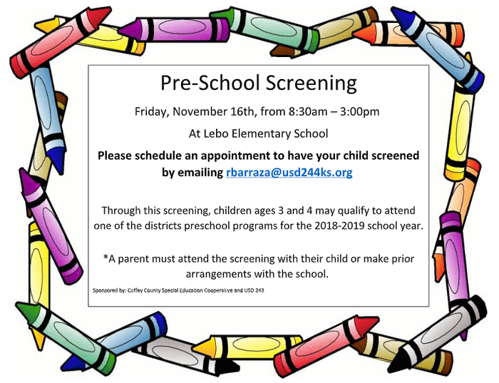 Preschool Screening Nov. 16