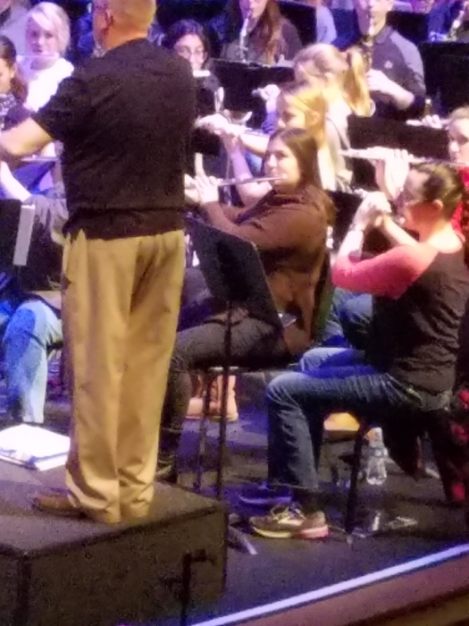 Krista Carbonneau rehearses with the ESU Honor Band Saturday.