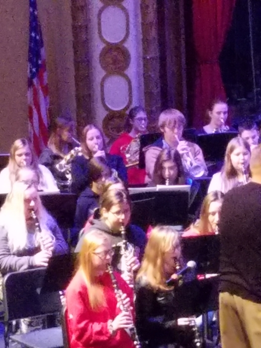 Grace Schulze rehearses with the ESU Honor Band Saturday.