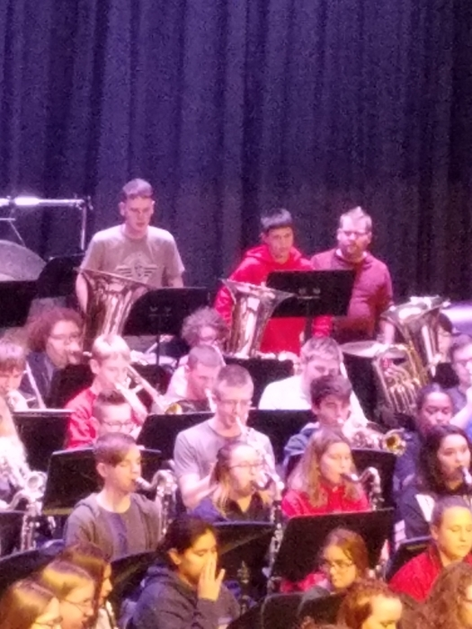 Zane Edelman rehearses with the ESU Honor Band Saturday.