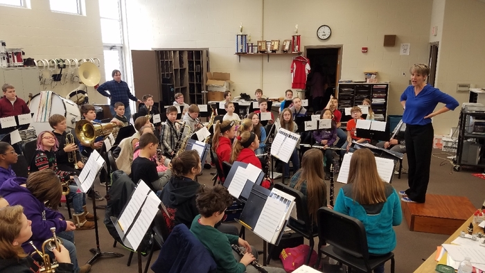 Laura Holiday, working with the Lebo-Waverly Band Festival Second Year Band Saturday February 16.