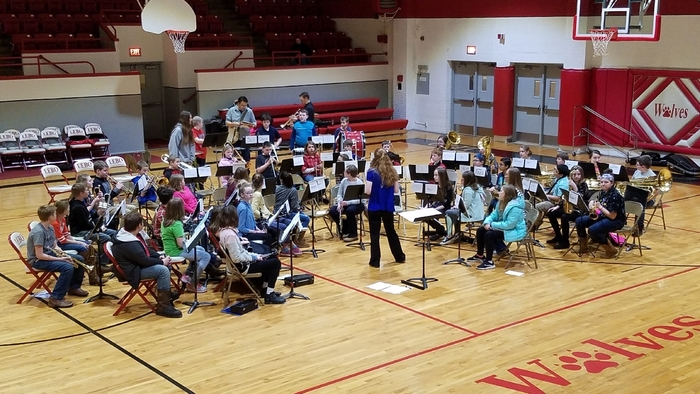 Stephanie Marston rehearses the Lebo-Waverly first year Elementary Band Festival Band Saturday February 16.