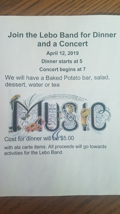 4/12, 5:00 Baked potato bar, 7:00 concert