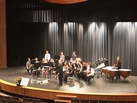 LHS Band members on stage at the KSHSAA Band Festival at Lewisburg.