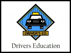 Drivers Education Car inside a blue diamond shape