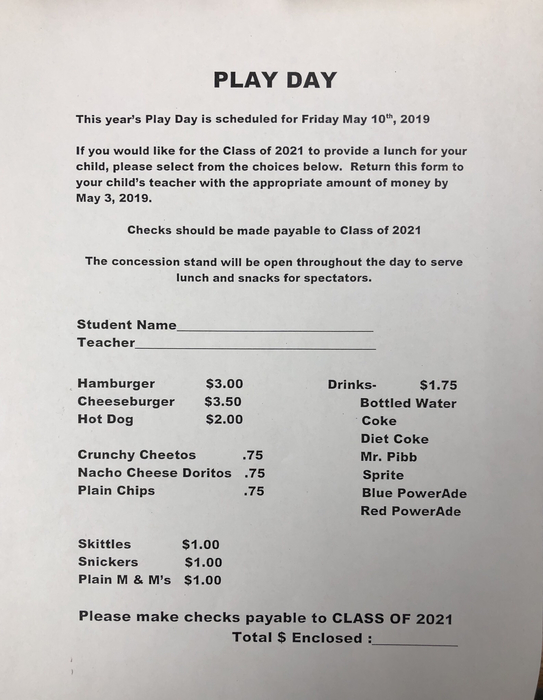Play day lunch form
