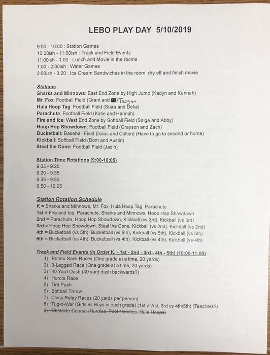 Play day schedule. Please send an extra set of clothes due to the water games.