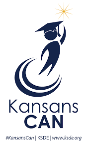 "Clip art of student with graduation hat on with the words ""Kansans CAN"""