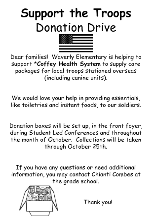 Support the Troops Donation Drive