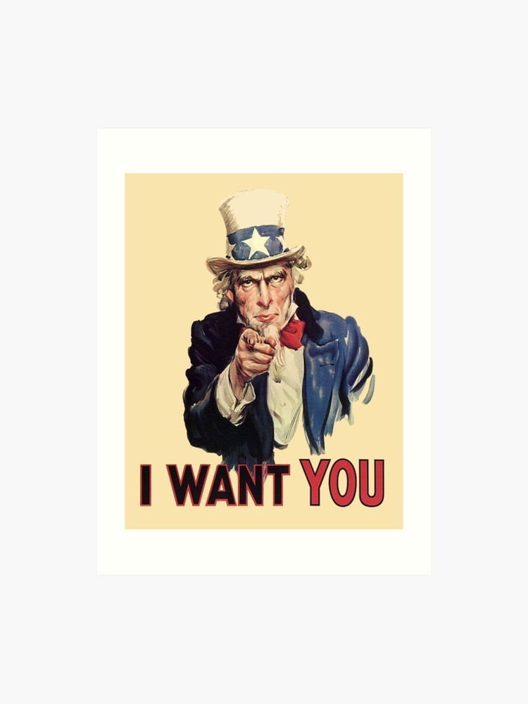 "Uncle Sam ""I want you"" Man dressed in top hat with stars pointing"