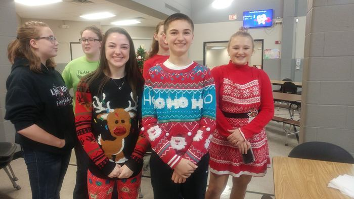 Students with Ugly Christmas sweaters