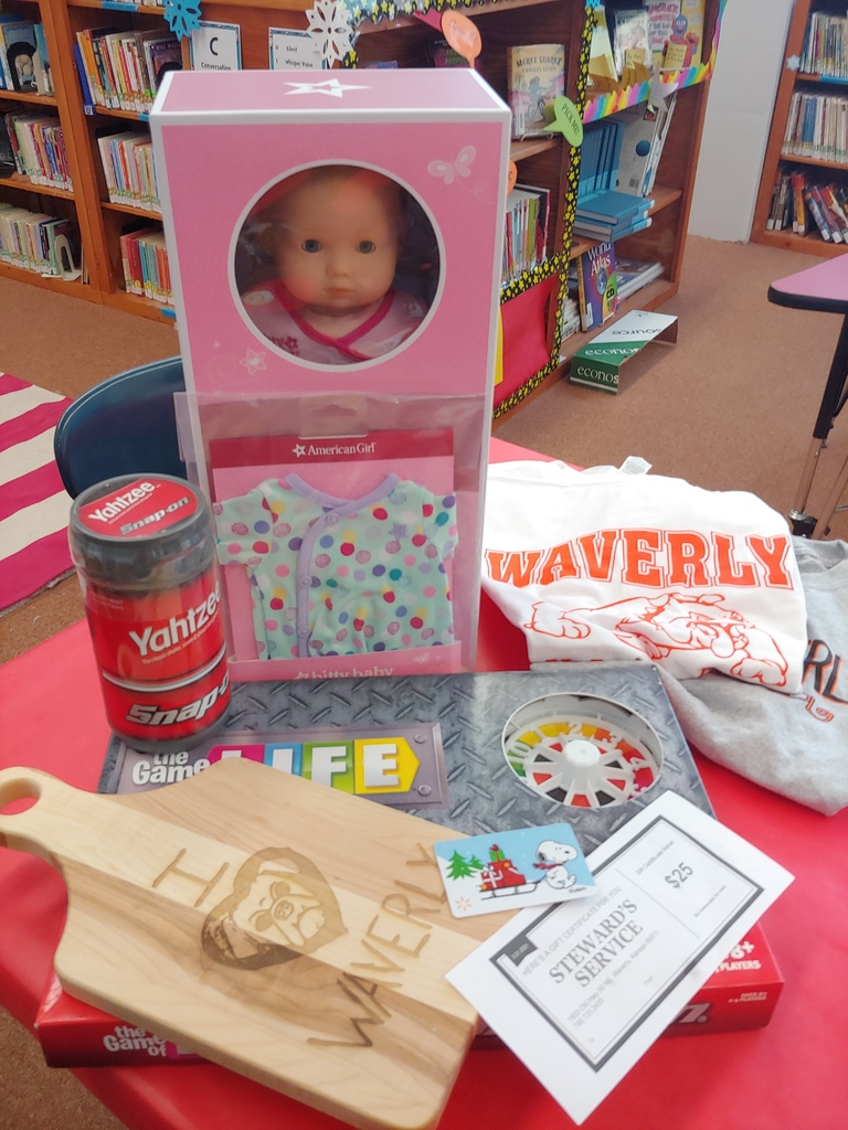 Bingo Prizes & Silent Auction Items: American Girl Doll, Waverly Cutting Board, Games, Gift Certificates.