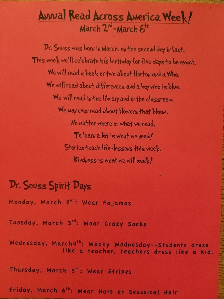 Read Across America Week ISD 243