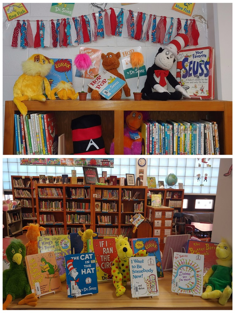 The library is ready for Read Across America Week! We love celebrating Dr. Seuss!
