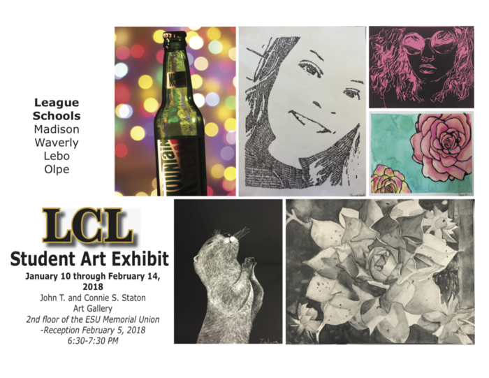 LCL Student Art Exhibit Jan 10-Feb 14, 2018.  Pictures of student art exhibits