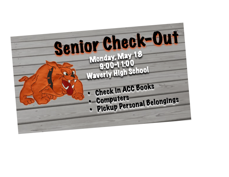 Bulldog on board background with Senior Check-Out