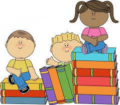 Clip art of children sitting on a stack of books