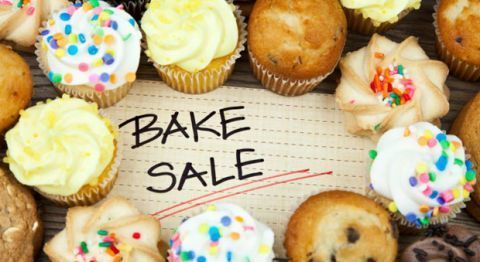 """ Bake Sale with cupcakes and cookies"