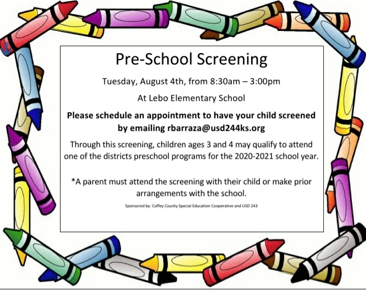 preschool screening USD243
