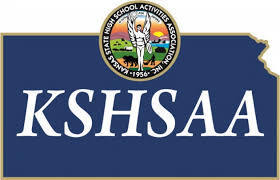 KSHSAA logo on an outline of the state of Kansas