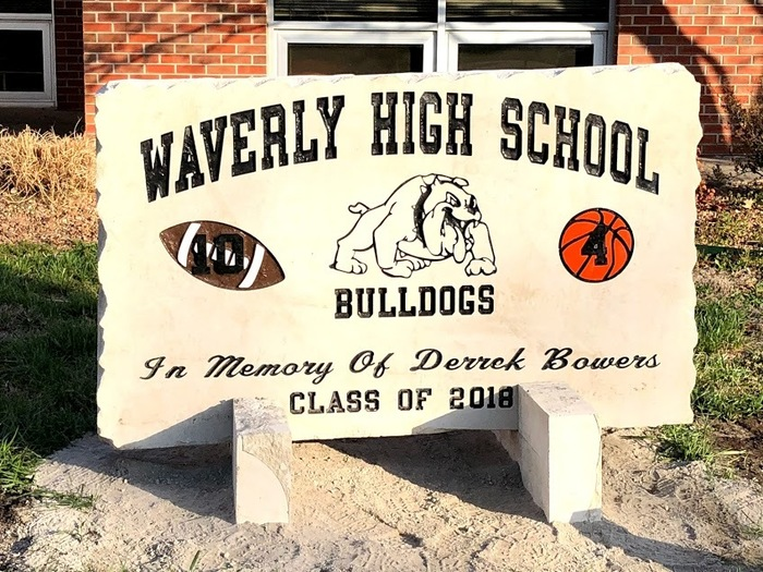Waverly High School memorial stone for Derrek Bowers