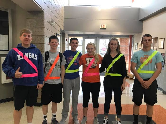 Students with duct tape seatbelts