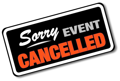 Sorry event Cancelled on a black background