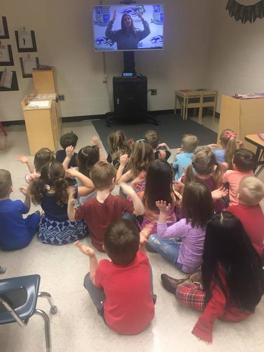 PreSchool Class watching and interactive digital field trip to the zoo